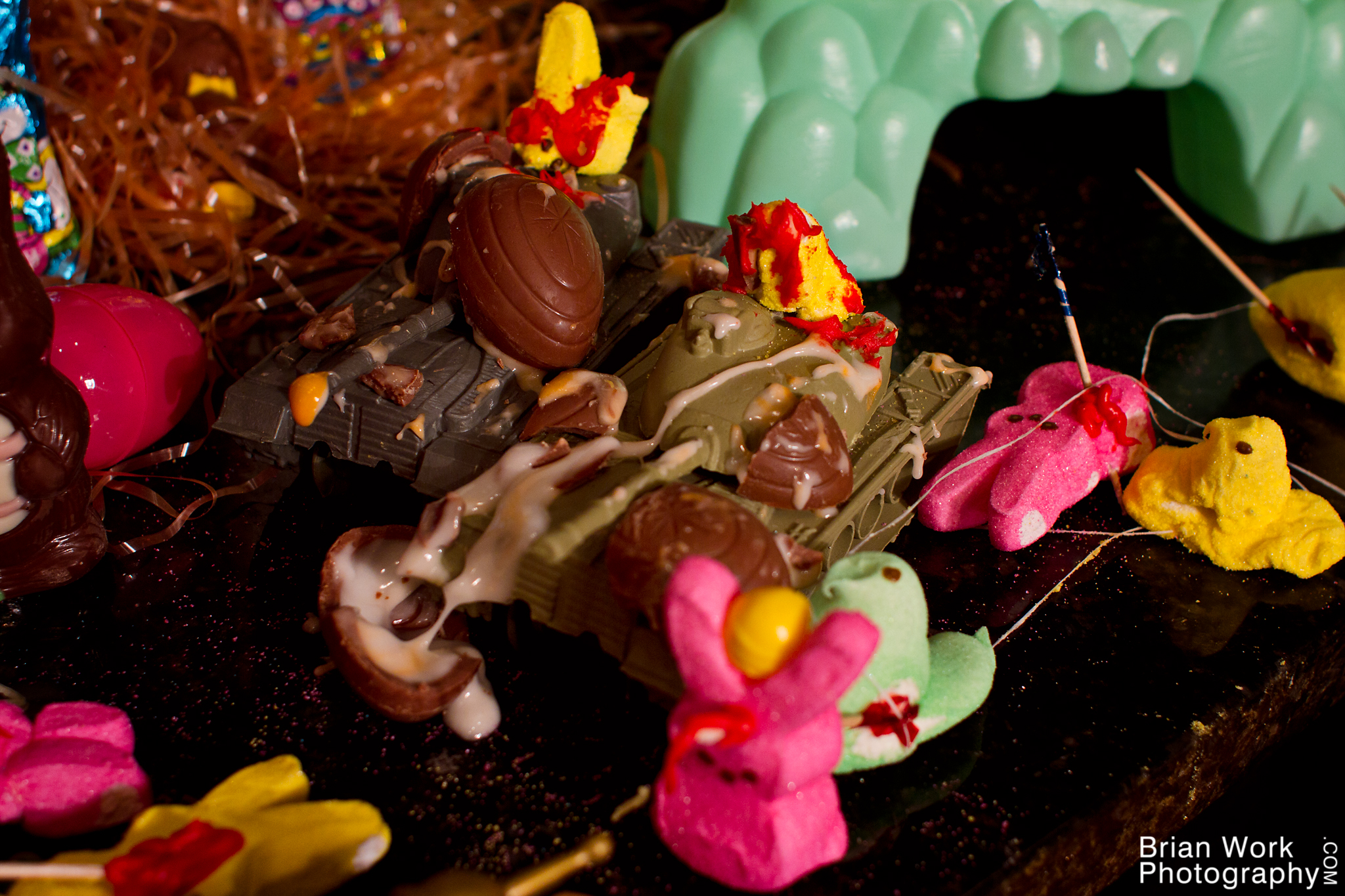<h5>The delicious creme eggs hurtled through the air and destroyed the bunnies' tank force with a loud splat. Before he even knew what was happening, Cannoneer Bunnson had been impaled on the spear of a brave member of the Magnificent Four.</h5>