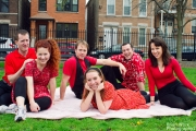 <h5>The Tanner family picnicking</h5><p>L-R: Rob Speer, Ali Keirn, James Garimot, Meghan Lloyd, Chris Gorton, Katie Johnston-Smith</p>