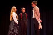 <p>Noelle Cameron as Hero, Cassie Santiago as Friar Francis, Chris Cohorst as Claudio</p>