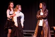 <p>Brenna Meek as Beatrice, Noelle Cameron as Hero, Nailah Mitnaul as Leonato</p>