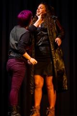 <p>Rachel Taylor as Don John, Hannah Whitlock as Conrade</p>