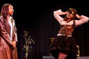 <p>Nailah Mitnaul as Leonato, Brenna Meek as Beatrice</p>