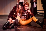 <p>Sophia Dhanani as Don Pedro, Andrew Flynn as Benedick</p>