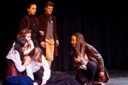 <p>Cassie Santiago as Friar Francis, Andrew Flynn as Benedick, Anna Vu as Ursula, Brenna Meek as Beatrice, Noelle Cameron as Hero, Nailah Mitnaul as Leonato</p>