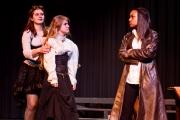 <p>Brenna Meek as Beatrice, Noelle Cameron as Hero, Nailah Mitnaul as Leonato</p>